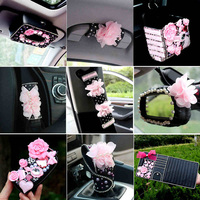 Camellia Car Interior Ddecoration Accessories Ladycrystal Seat Belt Cover Diamond Leather Steering Wheel Cover The Head