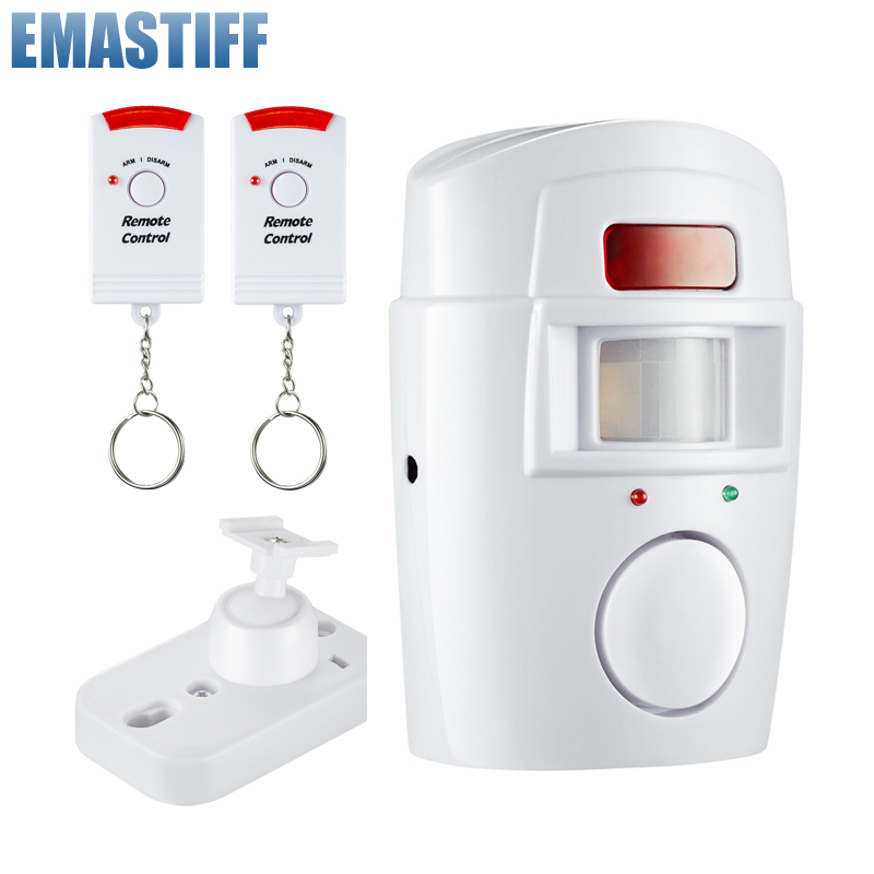 Rumah Keamanan Pir MP Alert Infrared Sensor Anti-Theft Alarm Detektor Gerak Monitor Nirkabel Sistem Alarm + 2 Remote controller