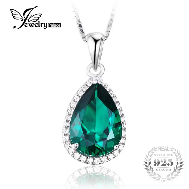JewelryPalace Pear 6ct  Russian Nano Created Emerald Pendant Genuine Real Solid 925 Sterling Silver Jewelry Without the Chain