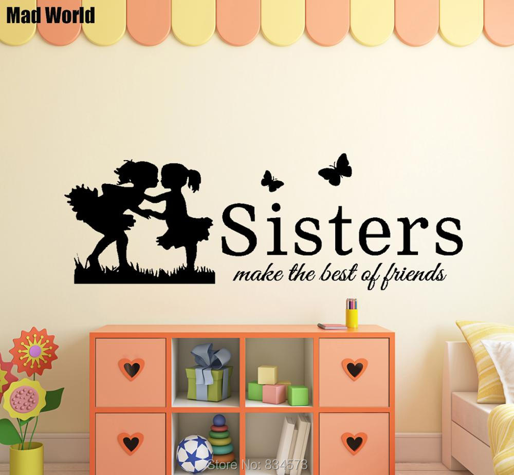 Mad World Sisters Make The Best Of Friends Wall Art Stickers Wall Decal  Home DIY Decoration Removable Room Decor Wall Stickers  56cmx162cm+47x136cm+37X107cm ...