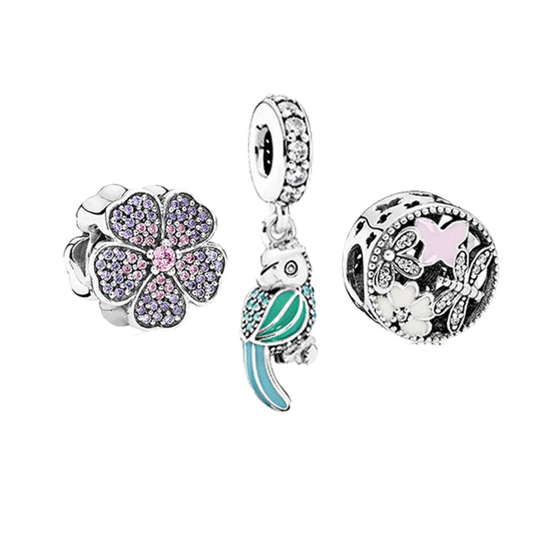 3pcs Beads Fits Brand Charms Bracelets Original 100 925 Sterling Silver Jewelry Paved Flower Lucky Bird