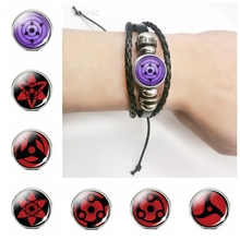 Men Black Leather Bracelet Anime Naruto Sharingan Eye Cosplay Steampunk Bangle for Gifts Him Boyfriend