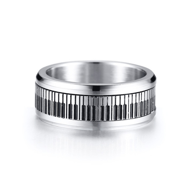 Rotatable Spinner Ring Men Music Piano Keyboard Stainless Steel New Man Boyfriend Gift