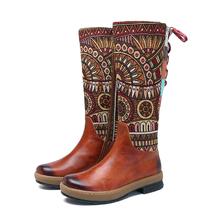 Socofy Vintage połowy łydki buty damskie buty Bohemian retro oryginalne skórzane buty motocyklowe drukowane boczne Zipper powrót koronki up botas tanie tanio Dorosłych Płótnie Niska (1cm-3cm) Gumowe Tkaniny SKU786737 od 0 do 3 cm Tkanina bawełniana Skóra bydlęca Płaskie z