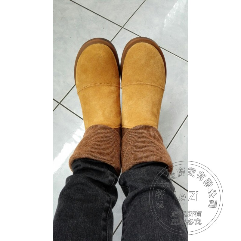 ФОТО Nubuck Leather Warmth Fleece Womens Boots Slip On Shoes Woman Winter Spring Autumn Mixed Color Low Heeled Casual Fashion