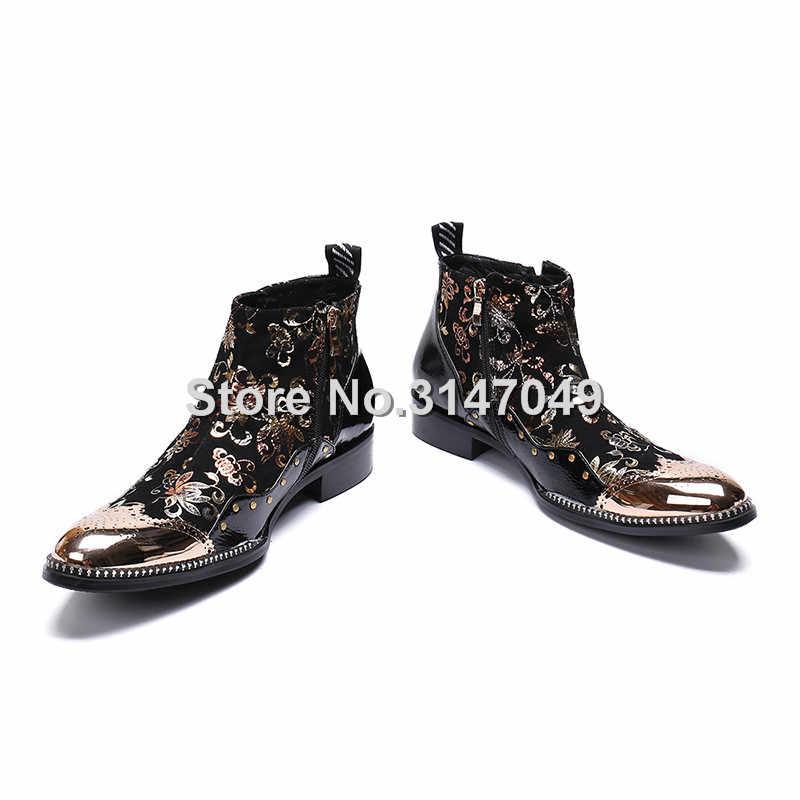 Grote Maat Metal Teen Business Heren Laarzen Real Leather Dress Laarzen Bloemen Studded Cowboy Western Martin Chelsea Enkellaars Mannelijke