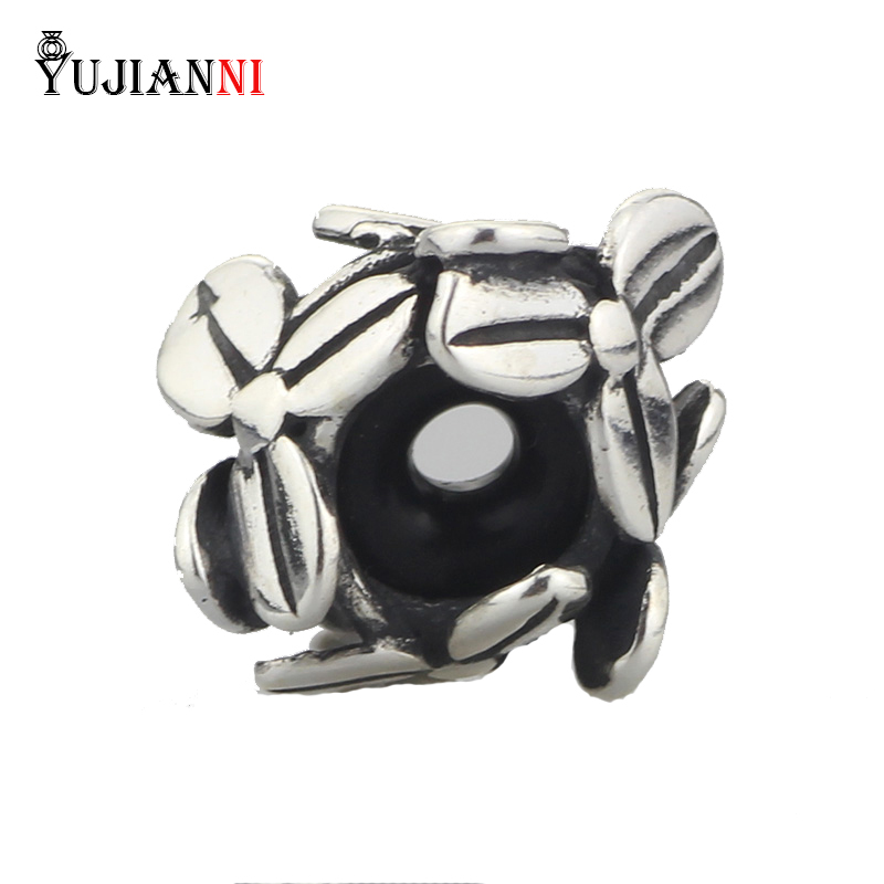 Authentic 925 Sterling Silver Flowers Spacer Stopper Beads DIY Charm For Woman Snake Chain Bracelets Jewelry Findings&Components