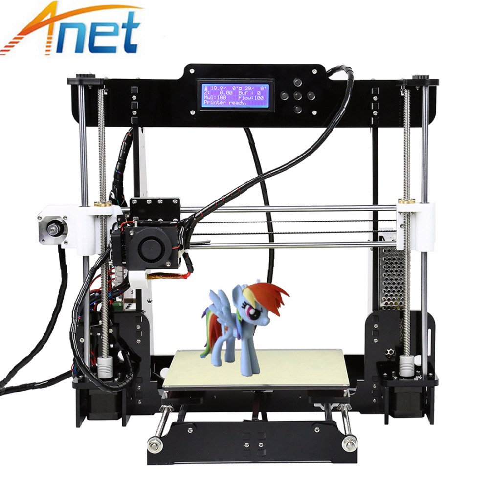 Anet A8 3D Printer DIY Reprap i3 Easy Assemble 3D Printing With 10M Filament 8GB SD Card+Tool LCD + Video Free easy assemble anet a6 a8 3d printer kit high precision reprap prusa i3 diy 3d printing machine hotbed filament sd card lcd
