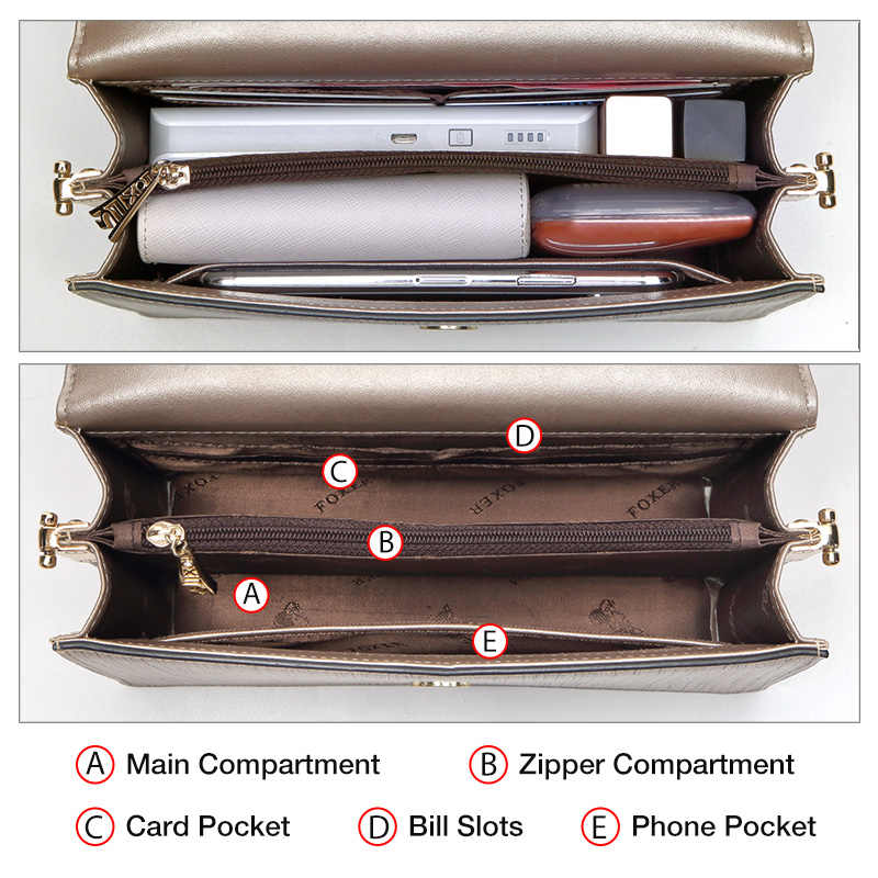 FOXER 브랜드 파티 여왕 세련된 작은 어깨 가방 여성 암소 가죽 전화 플립 가방 세련된 메신저 가방 레이디 골드 Crossbody 가방