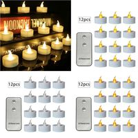 12pcs Flickering LED Candle Lights With Remote Control Flameless Electric Tealight|  -