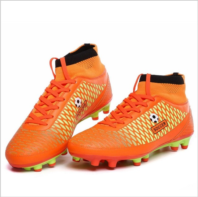 Cheap SOCCER high cut Leather Soccer Shoers Football Boots-in Soccer ... 099ab0fef638