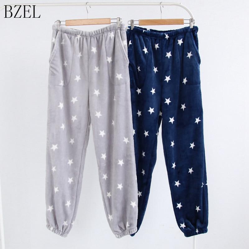 BZEL Flannel Casual Sleep Bottoms Elastic Waist With Drawstring Winter Pajama Sleepwear Pants Caroset Plus Size Male Homewear