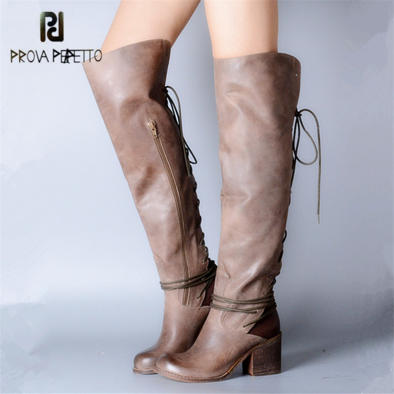 Prova Perfetto Sexy Over The Knee Boots for Women Back Lace Up Square High Heel Botas Female Thigh High Boots Winter Warm Shoes все цены
