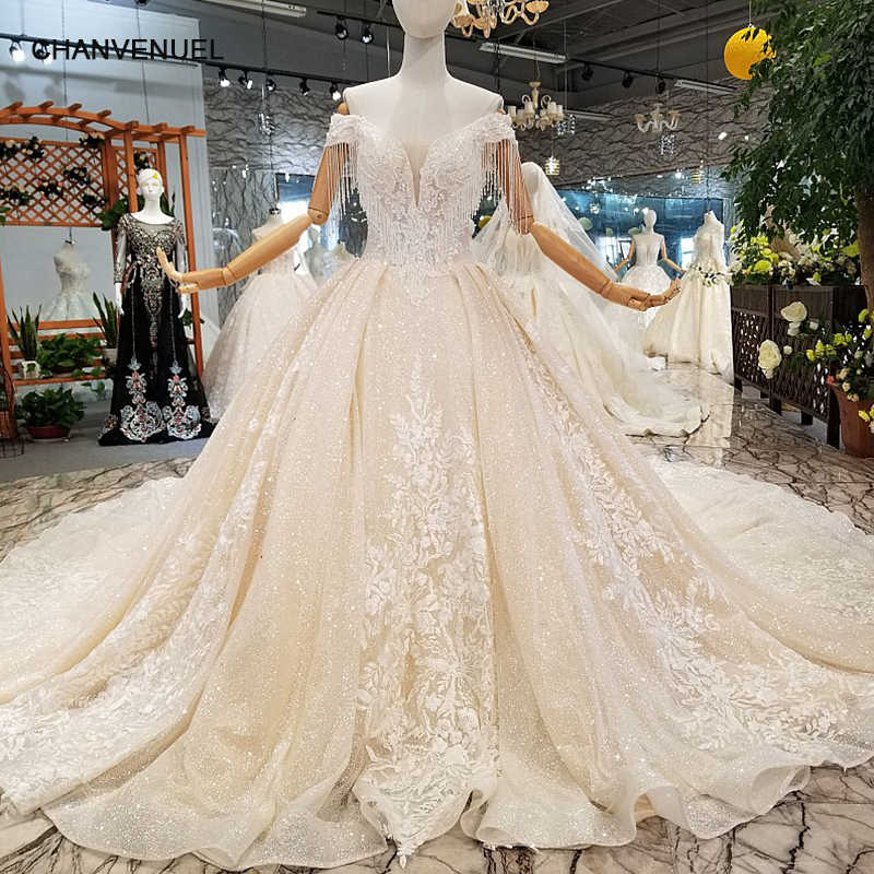 40ed9beec3a95 LS457897 light champagne shiny wedding gown with glitter off the shoulder  sweetheart customized wedding dresses tulle