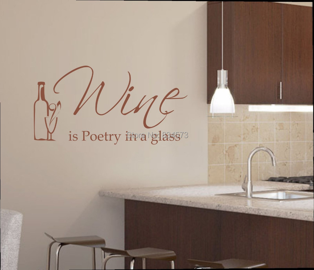 Hot Wine Is Poetry In A Glass Kitchen Wall Art Sticker Decal Diy Home -7422