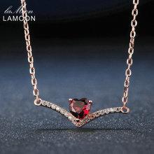Lamoon Elegent 4mm Corazón Rojo Granate Natural 925 de Plata Esterlina Colgante de Collar de Cadena Joyería de Las Mujeres S925 LMNI044