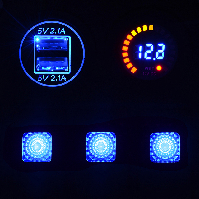 3 Gang LED Rocker Switch Panel +DC 12V voltmeter + Double USB 4.1A Power Outlet Charger Socket for Marine Boat Car Rv Vehicles