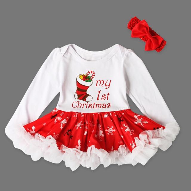 Autunno Abito Di Natale Vestito Dalla Neonata del bambino Appena Nato  Pagliaccetti Cotone Manica Lunga Bambini 349ba79b2da