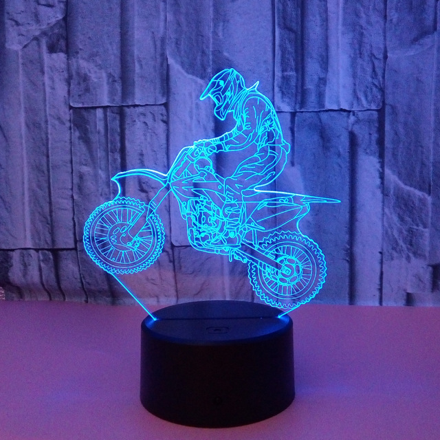Valentines day gift 7 Color change 3D Hologram ride motorcycle Lamp Lights party favor anniversary gift for boyfriend present