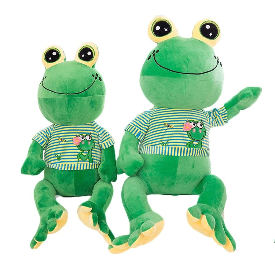 Cute Green Cartoon Frogs Plush Big Toy Animal Kids Doll Jouet Peluche Birthday Gift Almofadas Toys For Children Girls 50G0490 45cm cute dog plush toy stuffed cute husky dog toy kids doll kawaii animal gift home decoration creative children birthday gift
