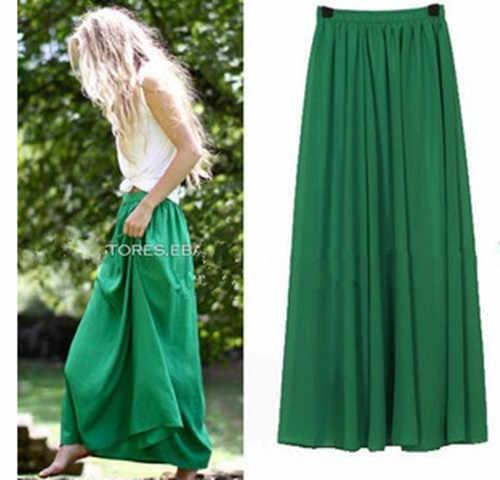 af046d81a1b Плюс Размеры элегантная длинная юбка Стиль Для женщин Плиссированное Платье  Макси Шифоновая юбка 2018 Пляж Boho