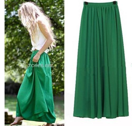 Plus Size Long Skirt Elegant Style Women Pleated Maxi Chiffon Skirts 2019 Beach Boho Summer Skirts Faldas Saia Jupe Femme a-line