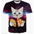 2016 Newest casual tshirt Cat eating Pizza Hot design 3D T shirt Men/Women's short sleeve t-shirt hot tops S-XXL 25 wholesale