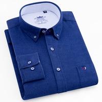 Men's Long Sleeve Plaid Brushed Casual Shirt Single Pocket Comfortable Premium 100% Cotton Regular fit Button Down Thick Shirts