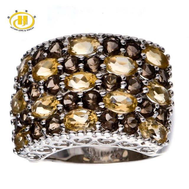 Hutang 5.23 CT Natural Citrine & Smoky Quartz Gemstone Solid 925 Sterling Silver Cluster Ring Fine Jewelry