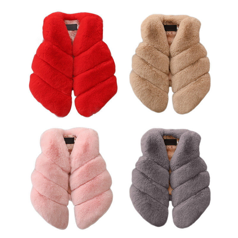 Kids Girls Artificial Fur Warm Vest Coats Winter Waistcoat Children Sleeveless Jacket Outerwear Clothing For 1-7 Years Child