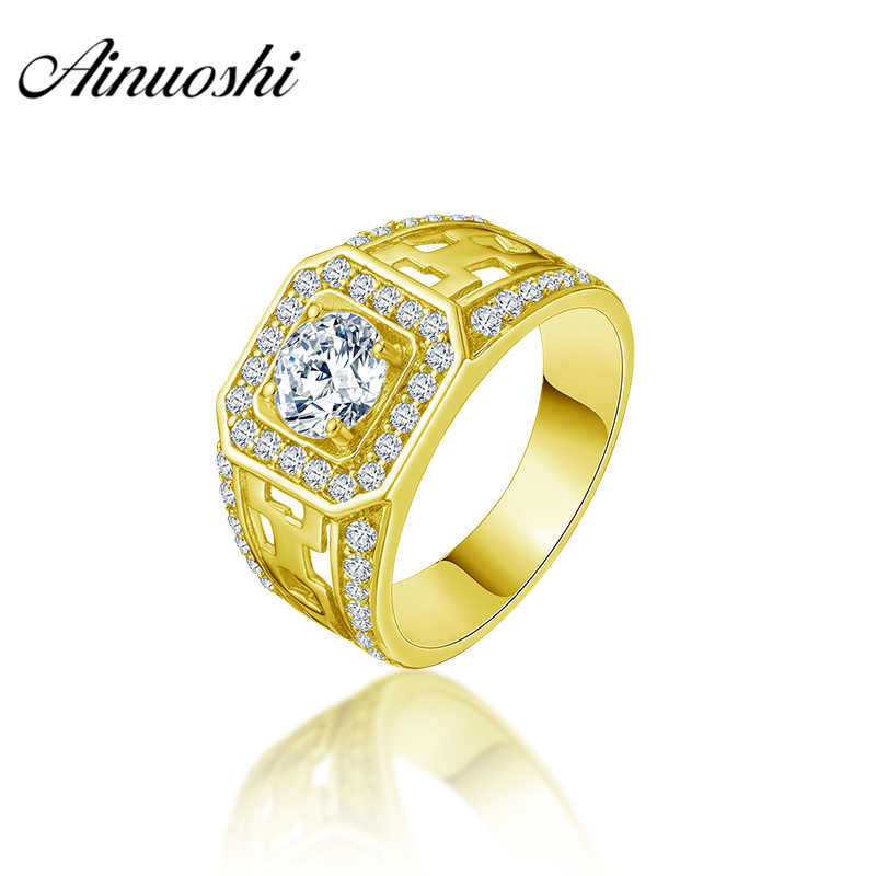 AINUOSHI 14K Solid Yellow Gold Men Ring Rows Drill Square Halo Ring Engagement Wedding Male Jewelry