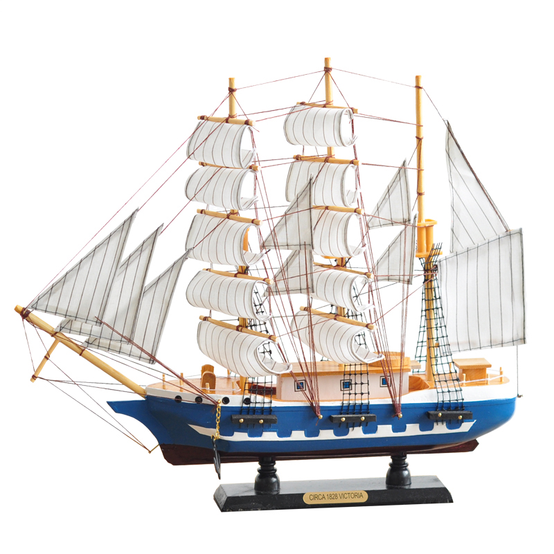 Small Wooden Sailing Ship Handmade Nautical Model Boat Home Decoration Crafts Gift Living Room