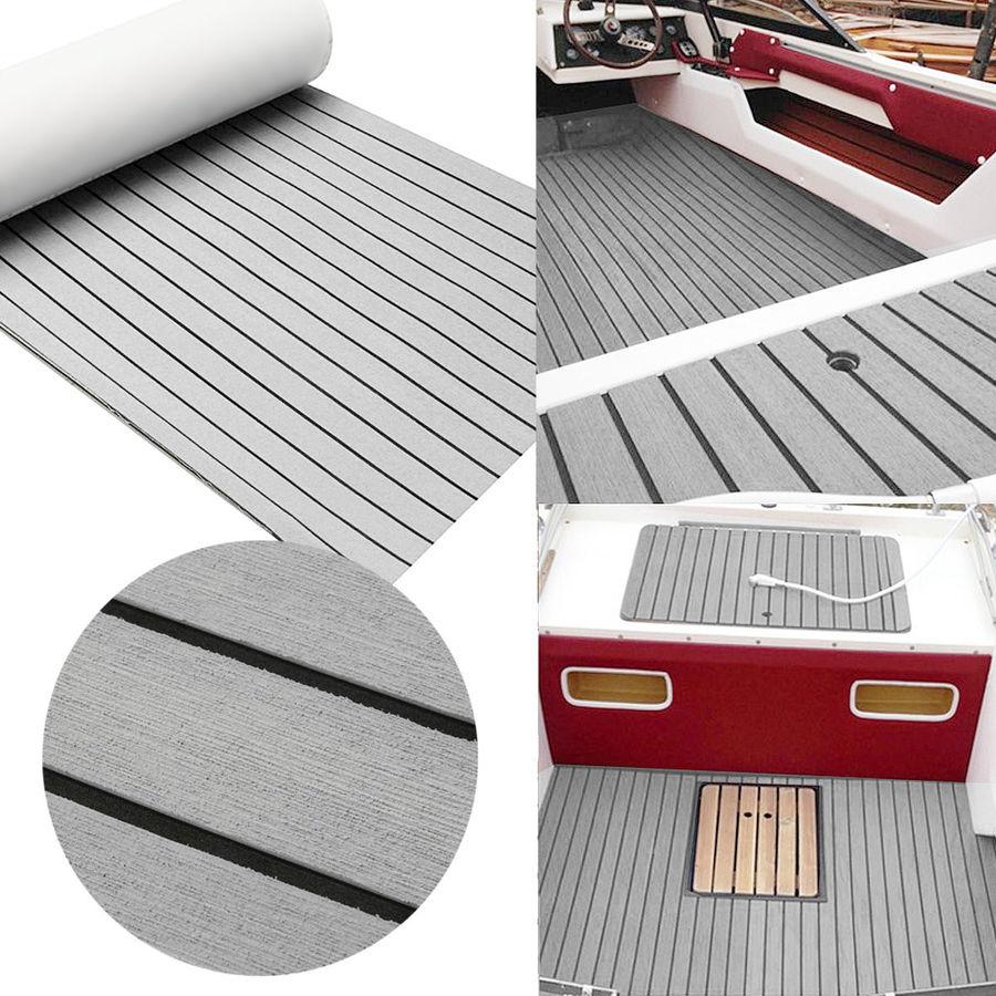 Auto-adhésif EVA mousse teck pont feuille Marine bateau Yacht synthétique platelage mousse tapis de sol tapis gris 240cm x 60cm x 6mm