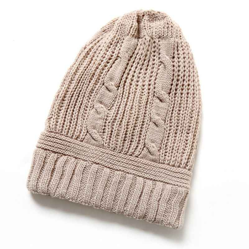 d157a4b775d 1PC Winter Basic Oversized Loose Braided Knitted Hat Vertical Striped Solid  Color Slouchy Long Beanie Cap