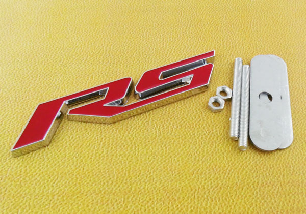 Auto car Chrome Red RS for 10-15 Camaro Cruze RS Front Grill Grille Badge Emblem 3d ss car front grille emblem badge stickers accessories styling for jaguar honda chevrolet camaro cruze malibu sail captiva kia