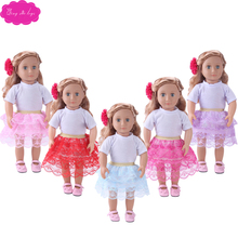 18 inch Girl dolls Clothes American New white T-shirt + cake lace skirt Dress accessories fit 43 cm baby doll c740-c744 1 set 18 american girl doll clothes and accessories white shirt and flower trousers 18 inch american girl dolls clothes ingbaby