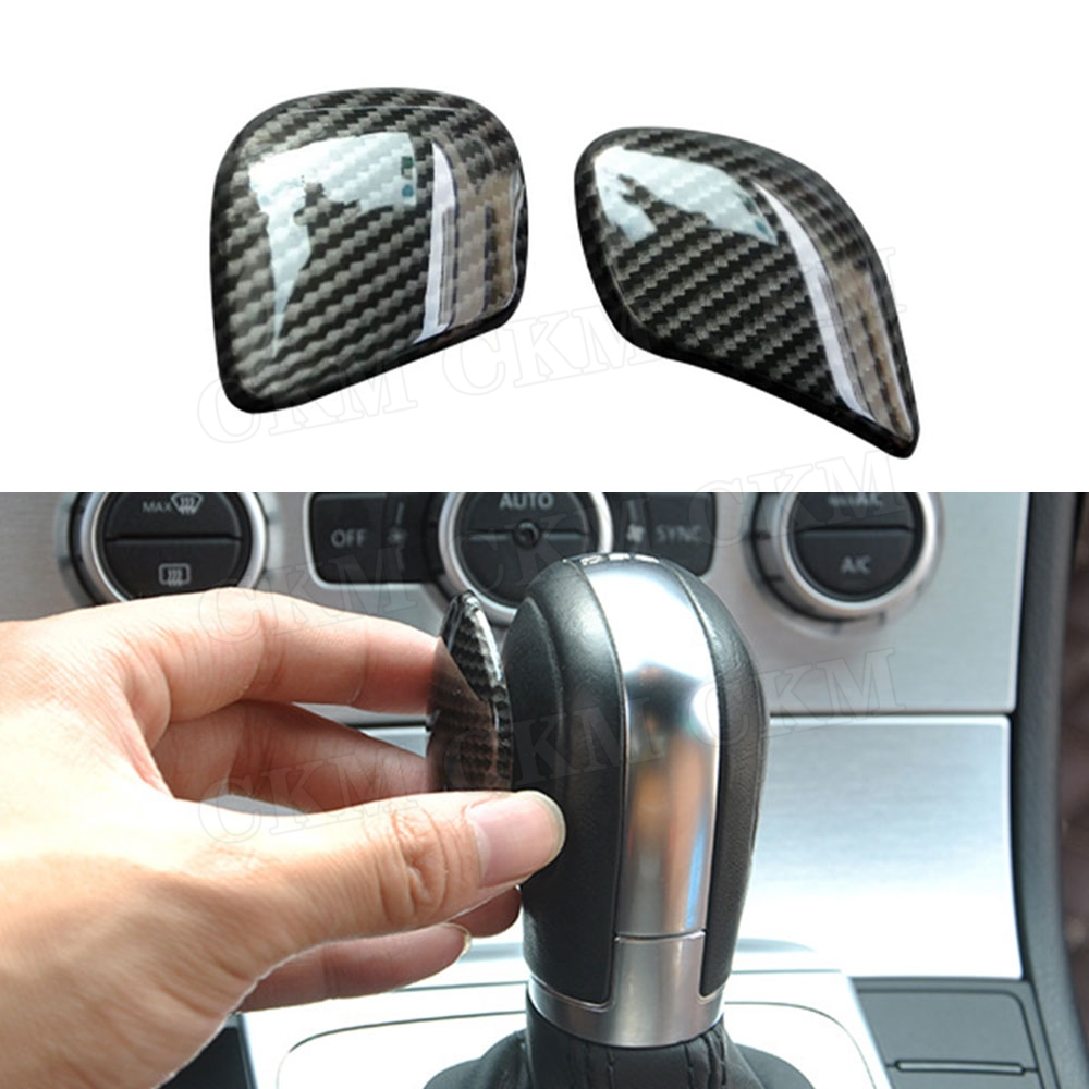 Gear shift Knob Head Trim Cover Plate for Volkswagen VW Golf Polo Beetle Passat CC Scirocco Lavida LHD Car Carbon Look Stickers