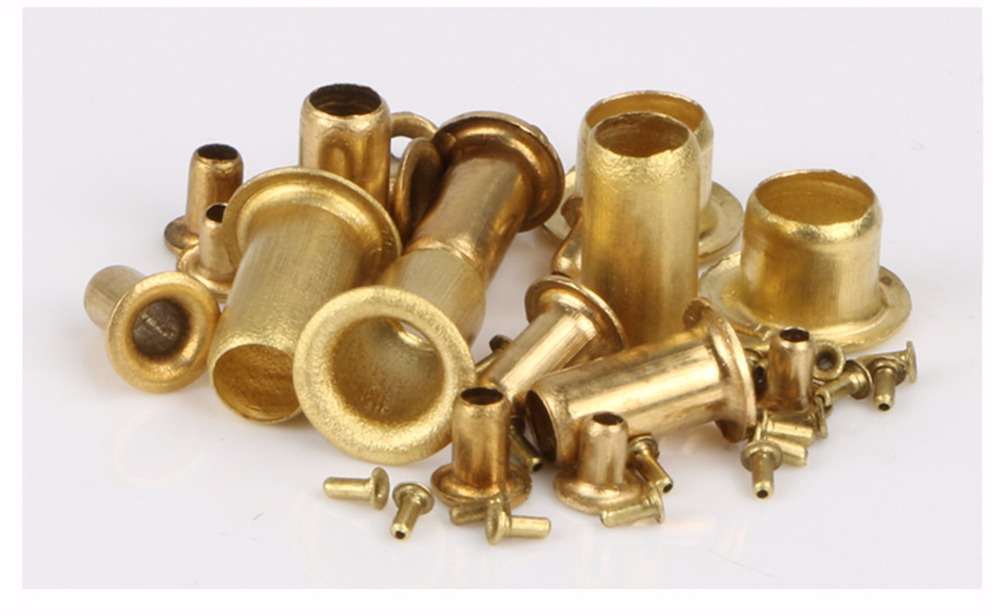 цена на 100/200/500pcs M3 Series Brass Eyelet Rivet Nut Copper Through Hole Rivets Hollow Grommet M3*6/7/8/10/12/14/15mm