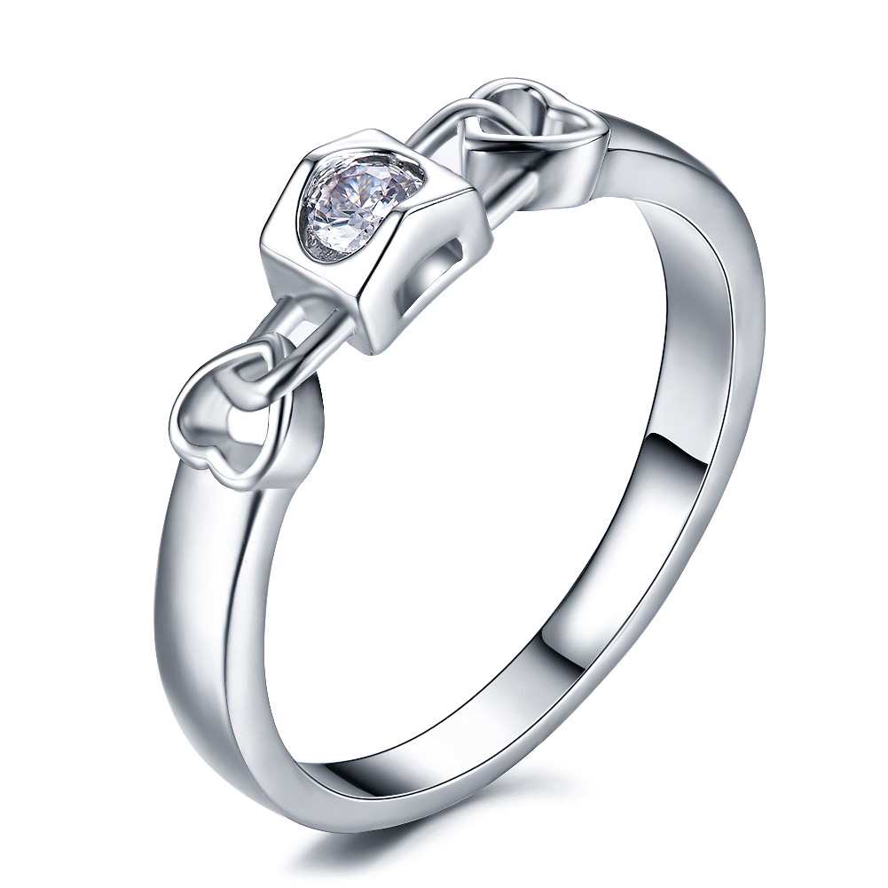 Hainon Lock-Rings Wedding-Engagement Heart Party Silver-Color White Women Love Sweet
