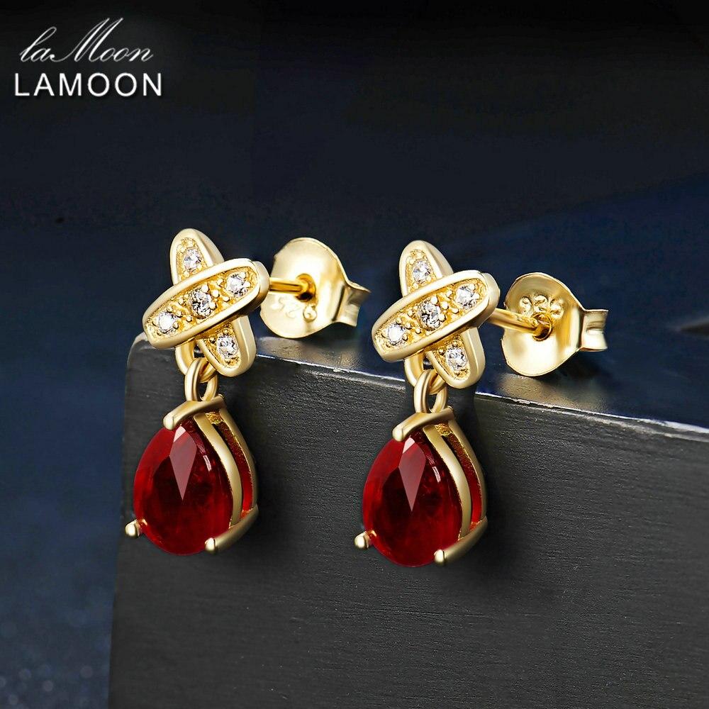 LAMOON Teardrop 5x7mm 2ct 100% Red Ruby 925 sterling-silver-jewelry Stud Earring S925 LMEI050