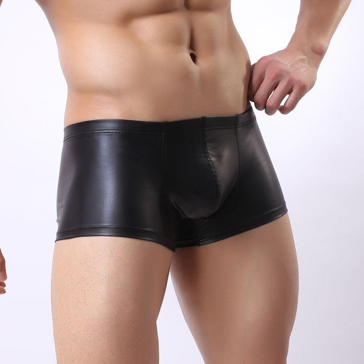 Nové sexy erotické spodní prádlo Boxer kožené pánské spodní prádlo Latexové kalhotky pánské Homme zbrusu kraťasy