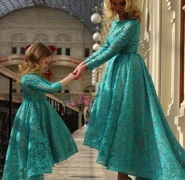 Setwell 2019 Charming Flower Girl's High Low Lace Dress Floor Length Long Sleeves Birthday Party Dress for Girls