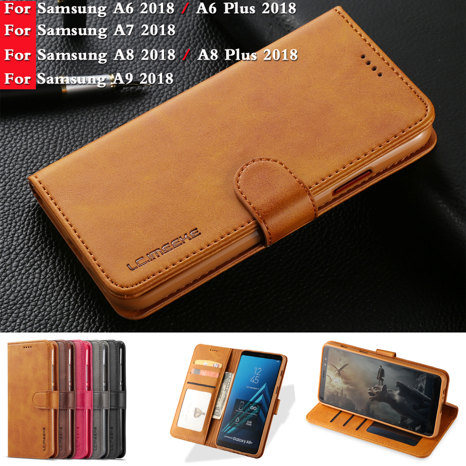 Luxury Leather Case For Samsung Galaxy A9s A7 A8 A8 plus 2018 Case Leather Flip Wallet