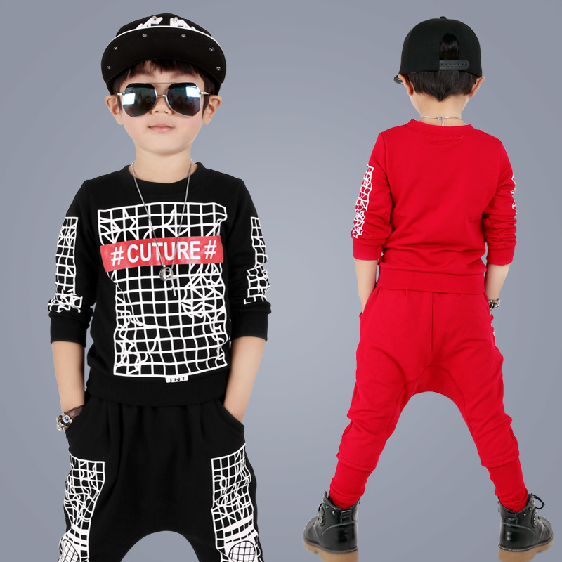 kids hip hop clothing Plaid Printing Hip Hop Dance Two-piece Sets Children Fashion Motion Leisure Autumn Pants & Sweatshirts Set wholesale new fashion autumn casual sport suits tracksuits for kids gold chain printing hip hop outwear boys clothing sets