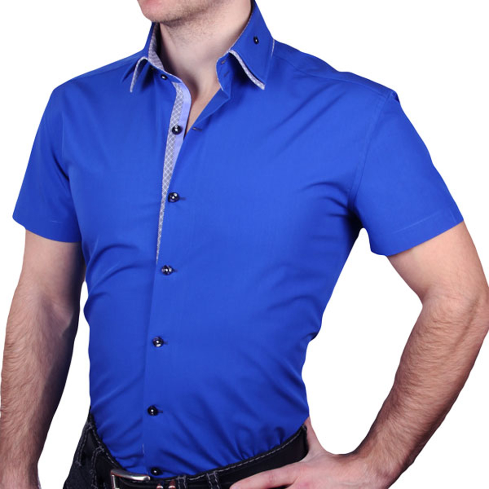 J.DeL 또는 새로운 도착한 남자의 면화 공상 고전적인 드레스 셔츠 고전적인 짧은 소매 슬림 피팅 고품질 Euro.design