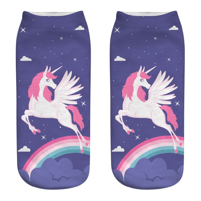 Miyahouse Colorful Painting Design Low Ankle Sock Women Casual Unicorn Printed Short Socks For Teenage Girls Calcetines