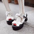 Lolita strawberry bell PU round toe bow women's thick heel sweet cute cosplay shoes