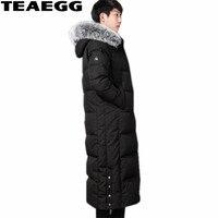 TEAEGG Luxury Natural Fox Fur Winter Jackets Mens Thick White Down Duck Jacket Men's Clothing Chaqueta Plumas Hombre Parka AL368