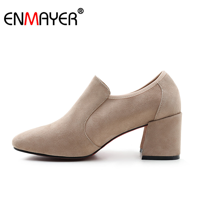 ФОТО ENMAYER Flock Boots Ankle Boots Slip-On Round Toe Chunky Heel High Heels Party Fashion Spring Autumn Women Shoes Genuine leather
