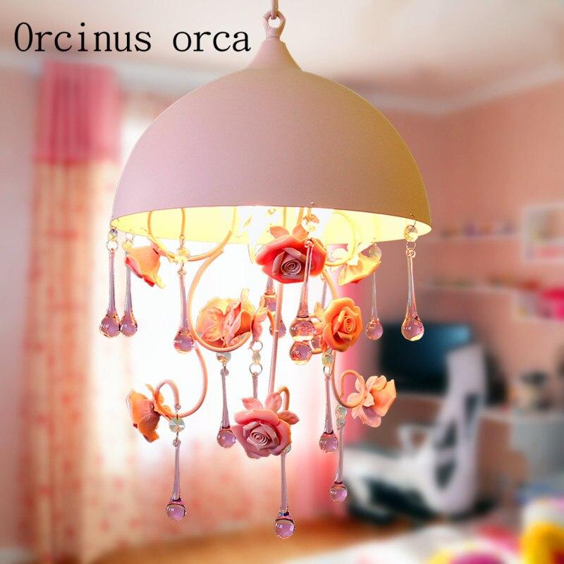 Korean Pastoral Pink Crystal Chandeliers Restaurants Children's Bedrooms Princess Rooms Creative Flowers Chandeliers